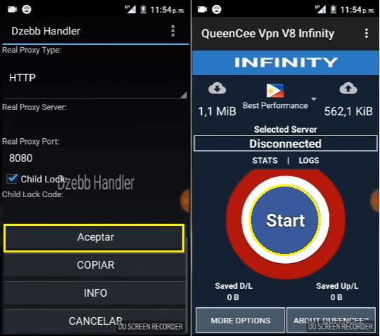 configuracion QueenCee vpn V8 Infinity apk
